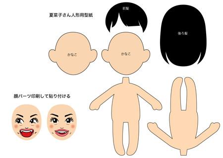夏菜子人形型紙